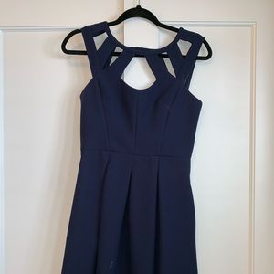 Betsey Johnson Navy Cutout Dress with Gold Detail